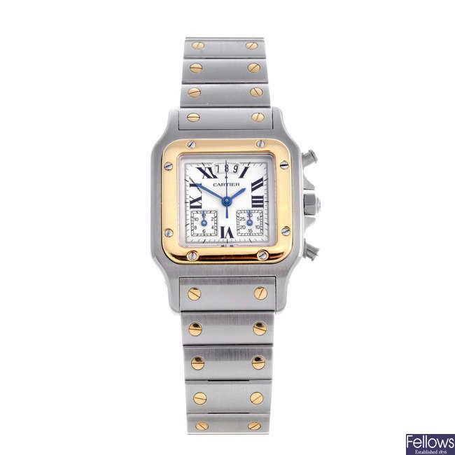 CARTIER - a bi-metal Santos chronograph bracelet watch.