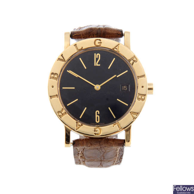 BULGARI - a mid-size 18ct yellow gold Bulgari wrist watch.