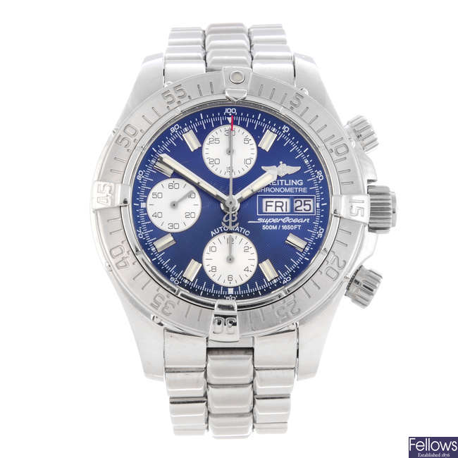 BREITLING - a gentleman's stainless steel SuperOcean chronograph bracelet watch.
