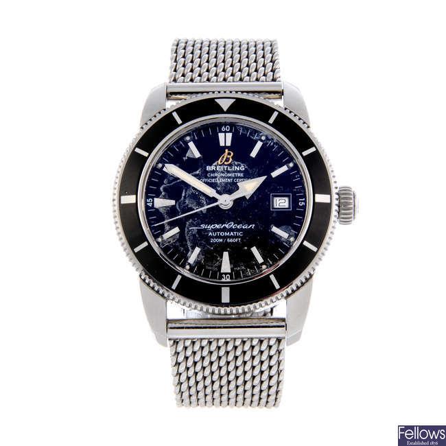 BREITLING - a gentleman's stainless steel SuperOcean Heritage 42 bracelet watch.