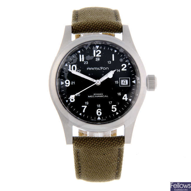 HAMILTON - a gentleman's stainless steel Khaki Mechanical wrist watch.