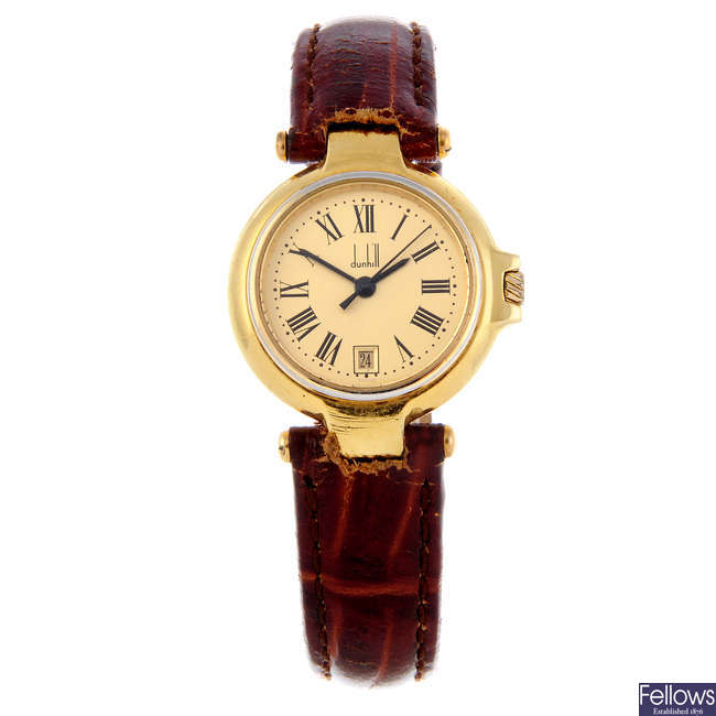 DUNHILL - a lady's gold plated Millennium wrist watch.