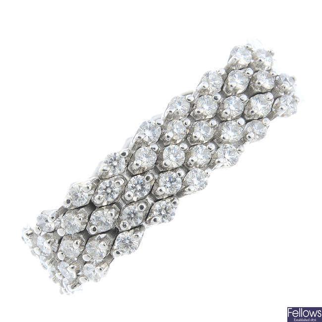 A diamond flexible dress ring.