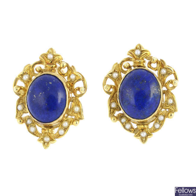 A pair of lapis lazuli and split pearl earrings.