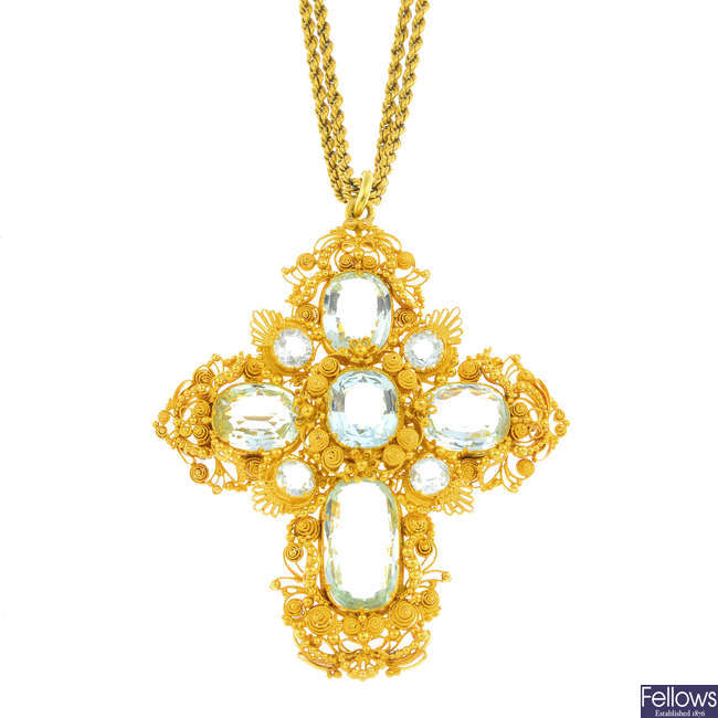 An early Victorian gold aquamarine pendant, with late Victorian gold chain.