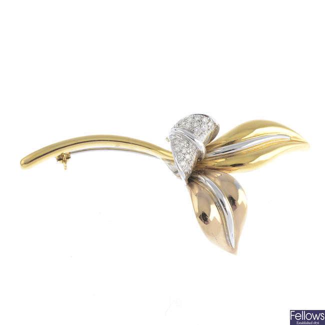 An 18ct gold diamond foliate brooch.