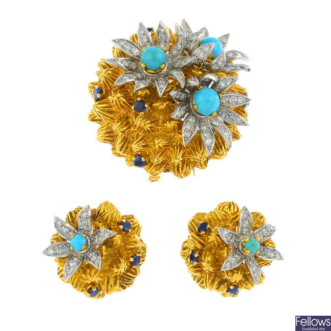 A mid 20th century set of turquoise, sapphire and diamond jewellery.