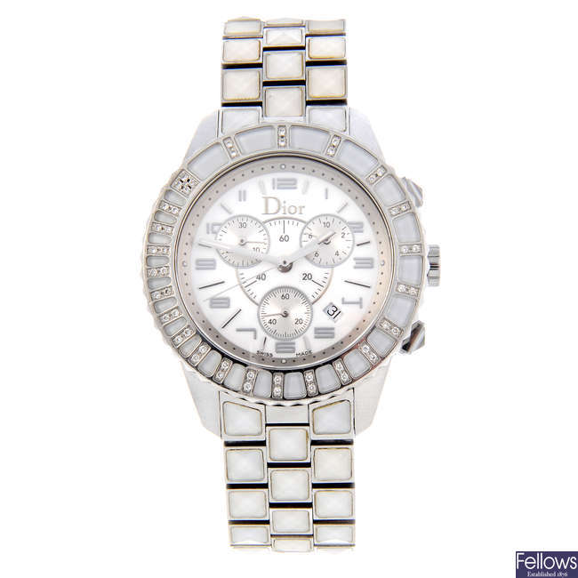 DIOR - a lady's stainless steel Christal chronograph wrist watch.