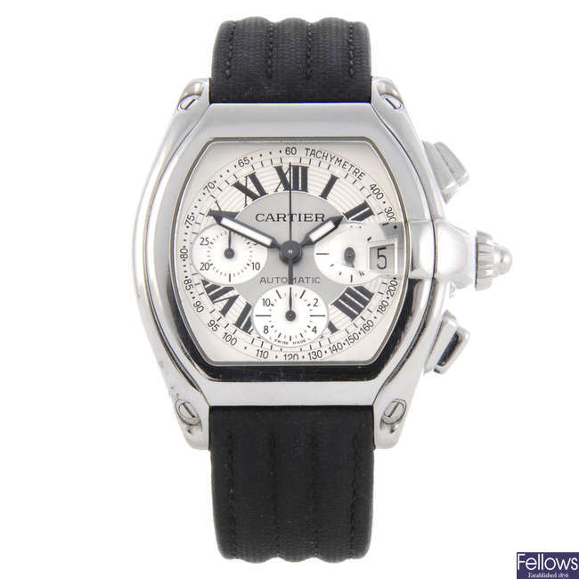 CARTIER - a stainless steel Roadster chronograph wrist watch.