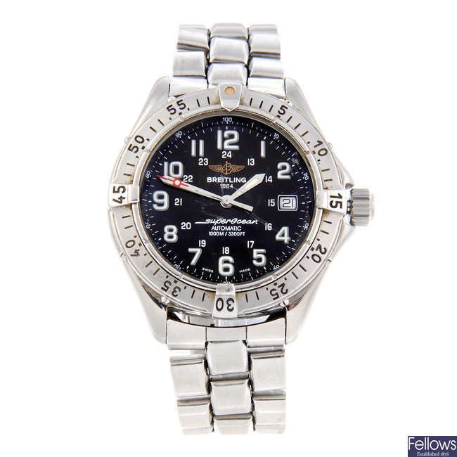 BREITLING - a gentleman's stainless steel  SuperOcean bracelet watch