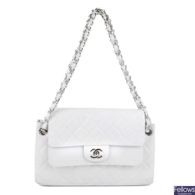 CHANEL - a white Crinkled Calfskin Quilted Accordion Double Flap handbag.