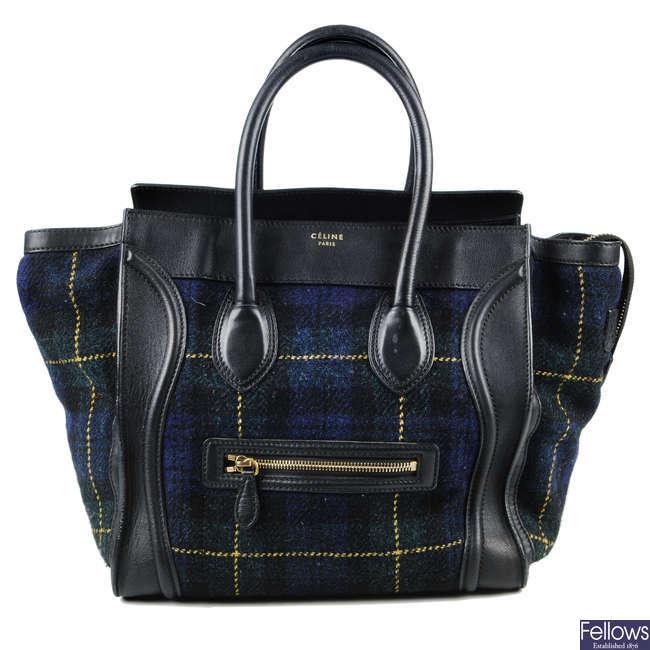 CÉLINE - a Midnight Tweed Tartan Mini Luggage Tote.
