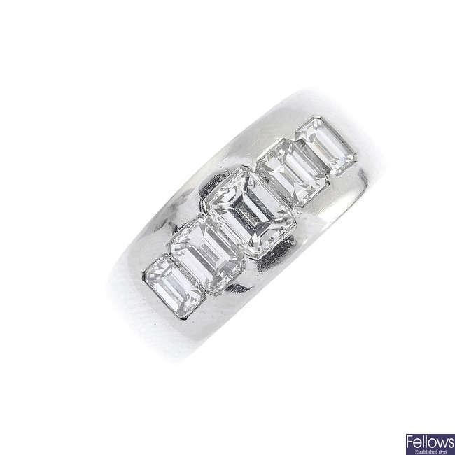 A platinum diamond five-stone ring.