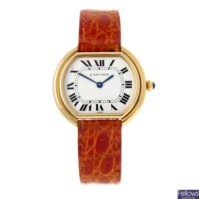 CARTIER - a yellow metal Vendome wrist watch.