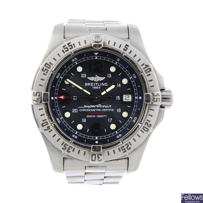 BREITLING - a gentleman's stainless steel SuperOcean Steelfish X-Plus bracelet watch.