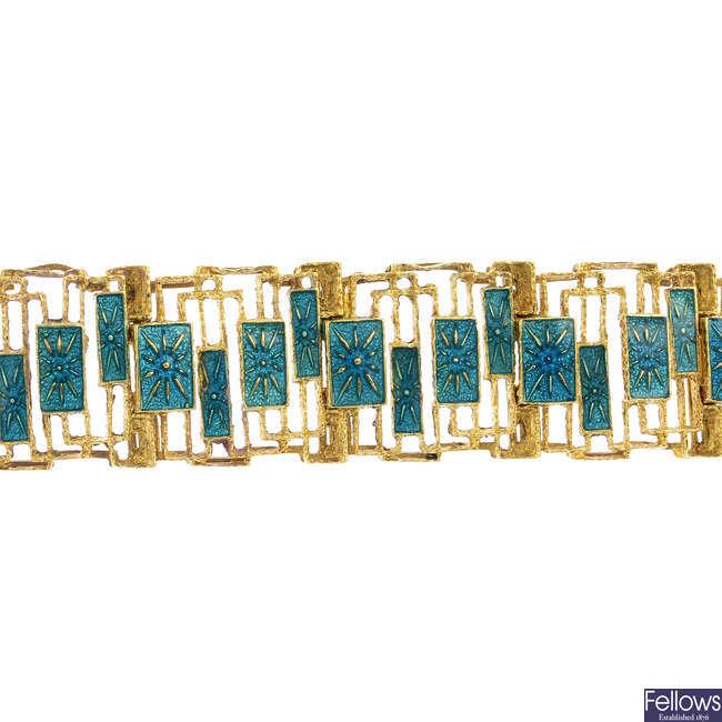 A mid 20th century 18ct gold enamel bracelet.