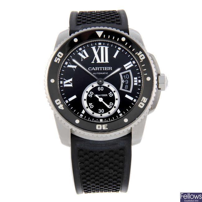 CURRENT MODEL: CARTIER - a stainless steel Calibre de Cartier Diver wrist watch.