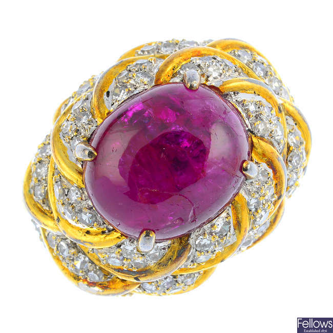 A ruby and diamond cocktail ring.