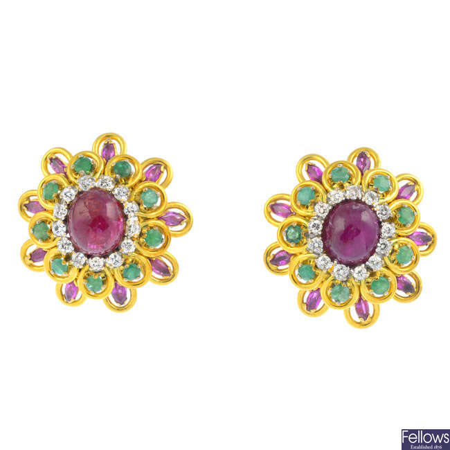 A pair of ruby, diamond and emerald floral cluster earrings.