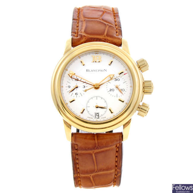 BLANCPAIN - a mid-size 18ct yellow gold Villeret chronograph wrist watch.