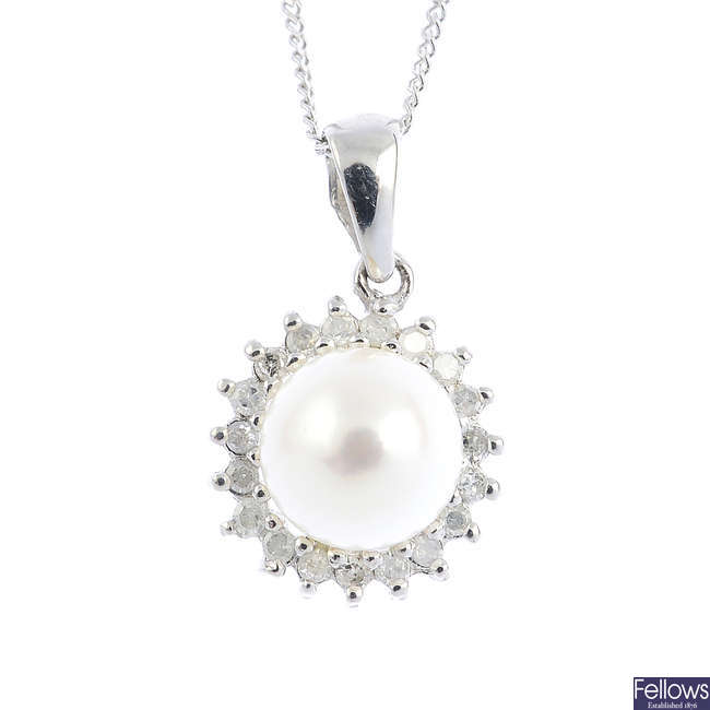 A 9ct gold pearl and diamond cluster pendant, with a chain.