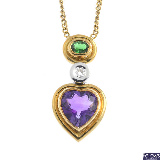 An 18ct gold tsavorite garnet, amethyst and diamond necklace.