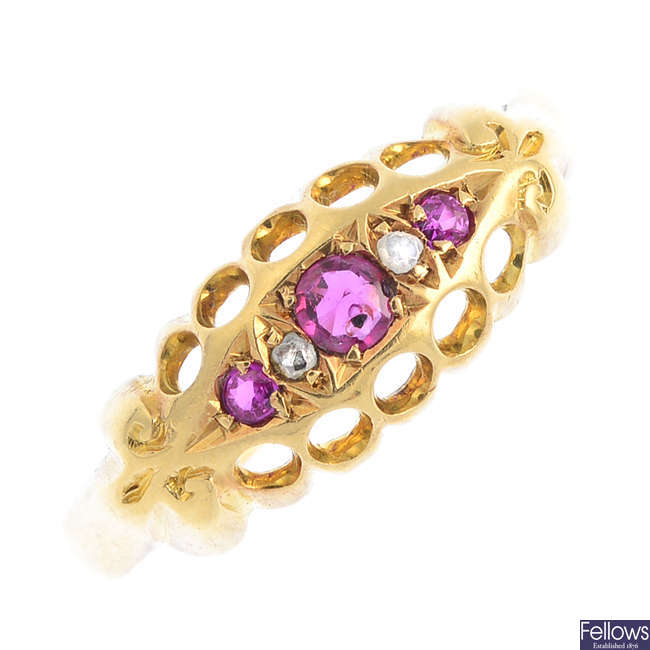 An early 20th century 18ct gold ruby, synthetic ruby and diamond ring.