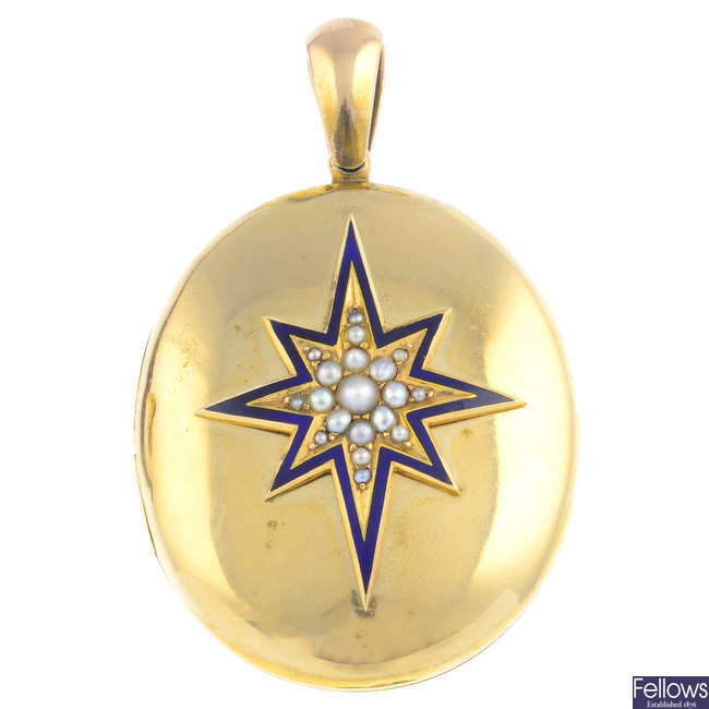 A late Victorian 12ct gold split pearl and enamel locket.