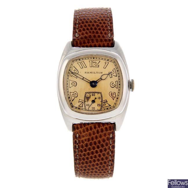 HAMILTON - a white metal wrist watch.