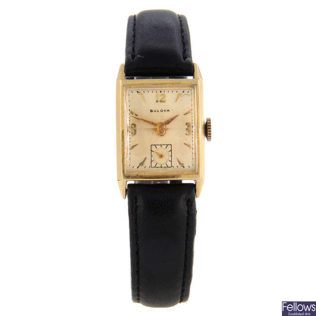 BULOVA - a yellow metal wrist watch with another Bulova wrist watch.