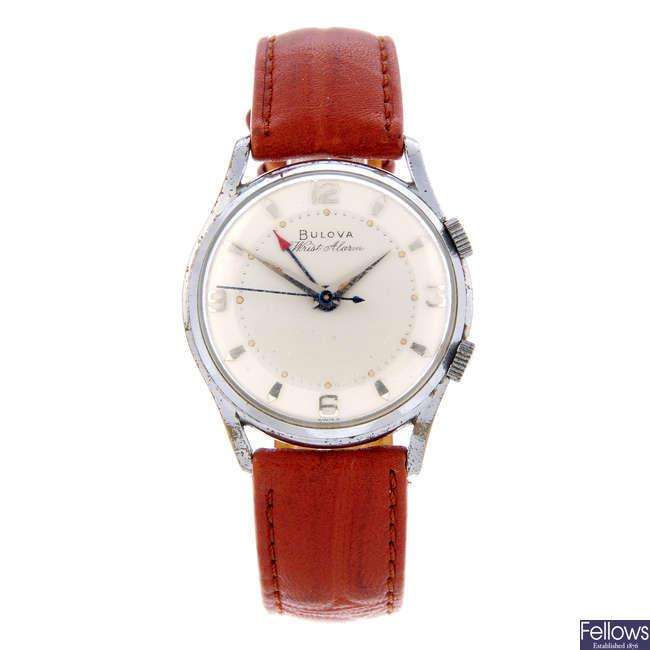 BULOVA - a gentleman's stainless steel Alarm wrist watch.