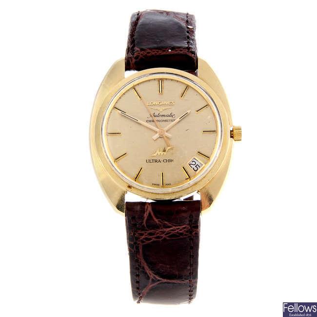LONGINES - a gentleman's yellow metal Ultra-Chron wrist watch.
