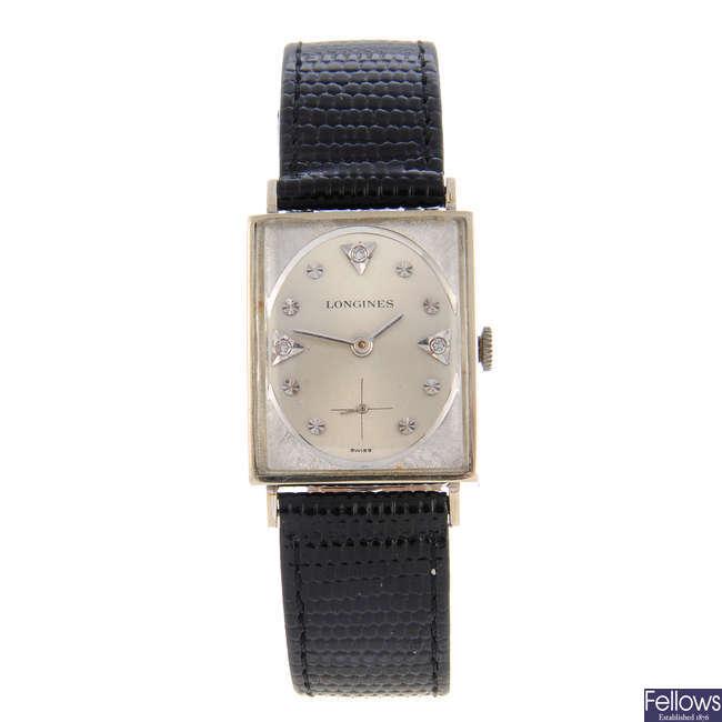 LONGINES - a white metal wrist watch with a Hamilton wrist watch.