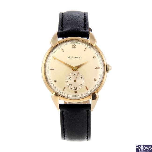 MOVADO - a gentleman's yellow metal wrist watch.