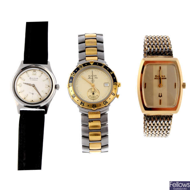 BULOVA - a gentleman's bi-colour Marine Star chronograph bracelet watch.