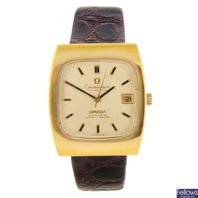OMEGA - a gentleman's gold plated Constellation wrist watch.