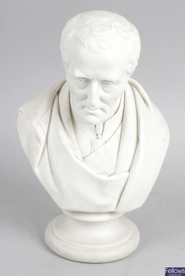A 19th century Parian ware head and shoulder bust depicting the Duke of Wellington.