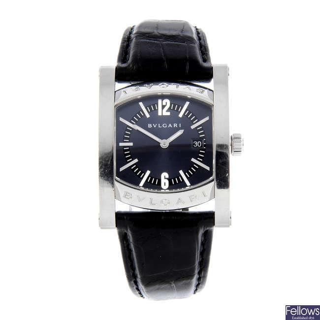 BULGARI - a lady's stainless steel Assioma wrist watch.