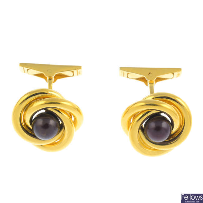 A pair of 18ct gold cultured pearl cufflinks.