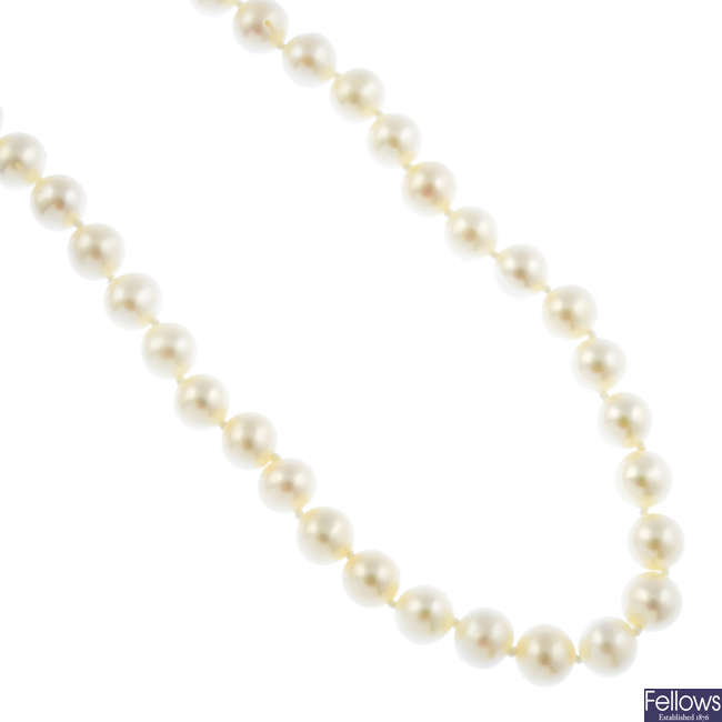 A cultured freshwater pearl necklace, with 18ct gold diamond ball clasp.