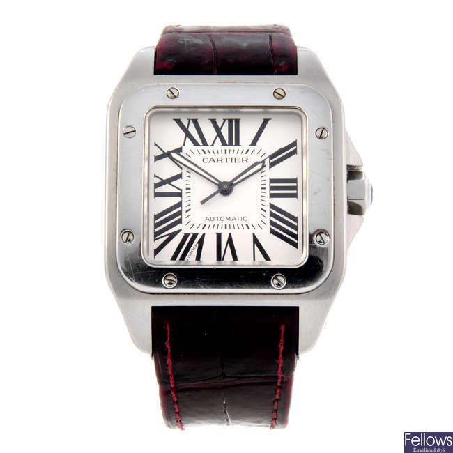 CARTIER - a stainless steel Santos 100 XL wrist watch.