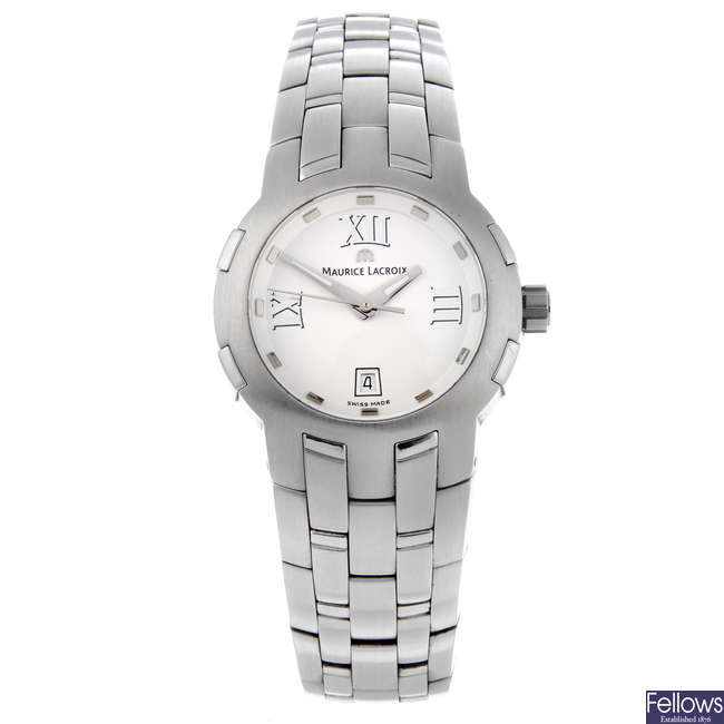 MAURICE LACROIX - a lady's stainless steel Milestone bracelet watch with two Emporio Armani bracelet watches.