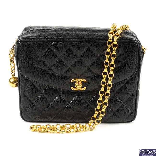 CHANEL - a vintage Caviar Camera Flap handbag.