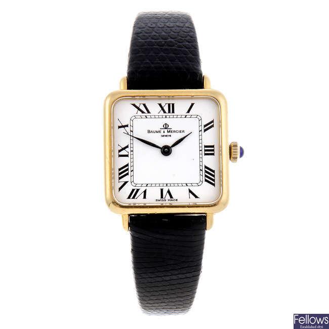 BAUME & MERCIER - a lady's 18ct yellow gold wrist watch.