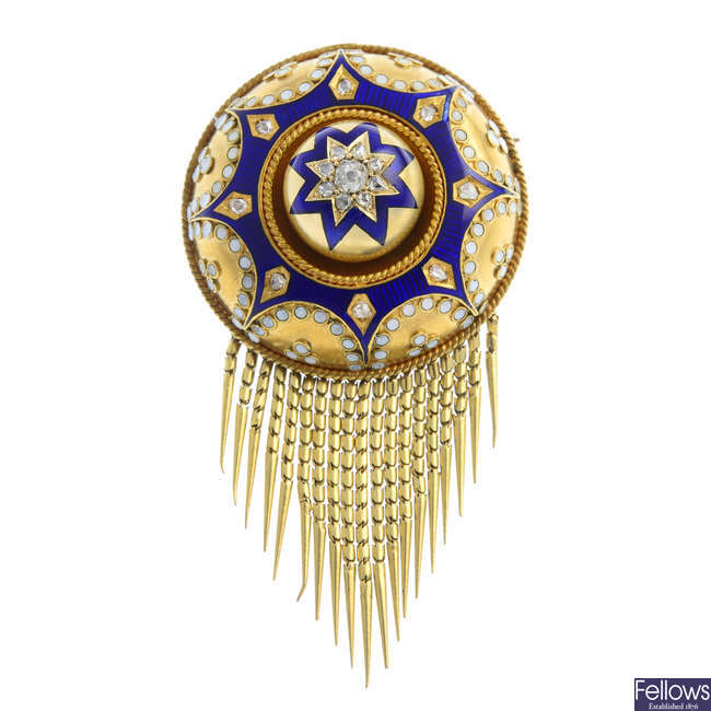 A late Victorian gold, diamond and enamel fringed brooch.