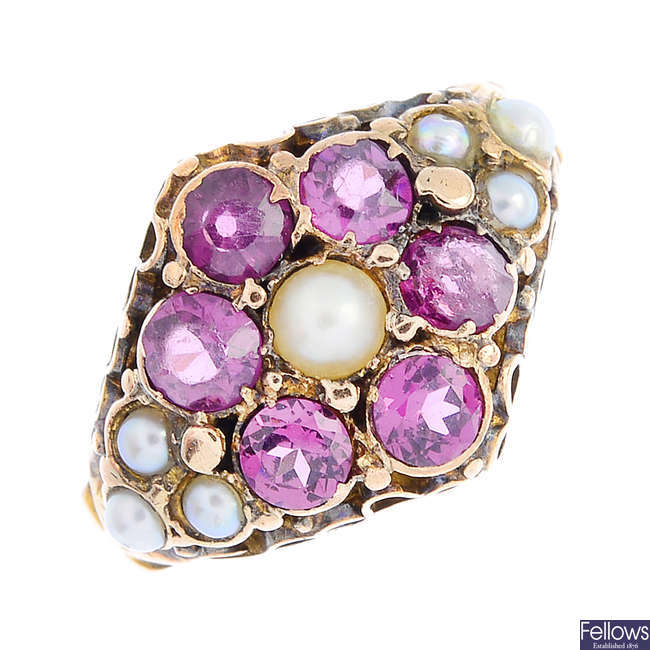 A mid Victorian gold garnet and split pearl cluster ring.