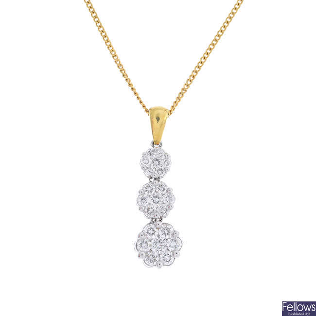 An 18ct gold diamond floral cluster pendant, with chain.