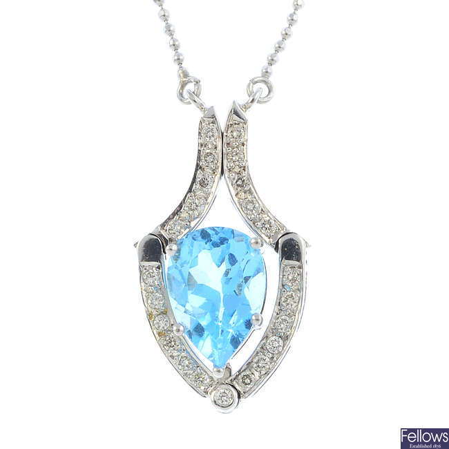 A topaz and diamond necklace.