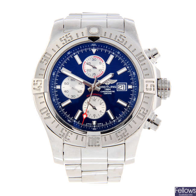BREITLING - a gentleman's stainless steel Super Avenger II chronograph bracelet watch.
