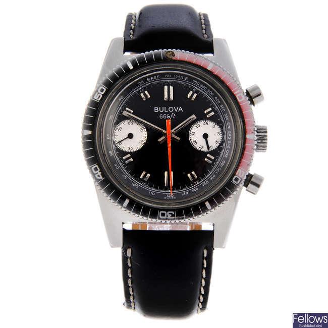 BULOVA - a gentleman's stainless steel 666 Ft chronograph wrist watch.